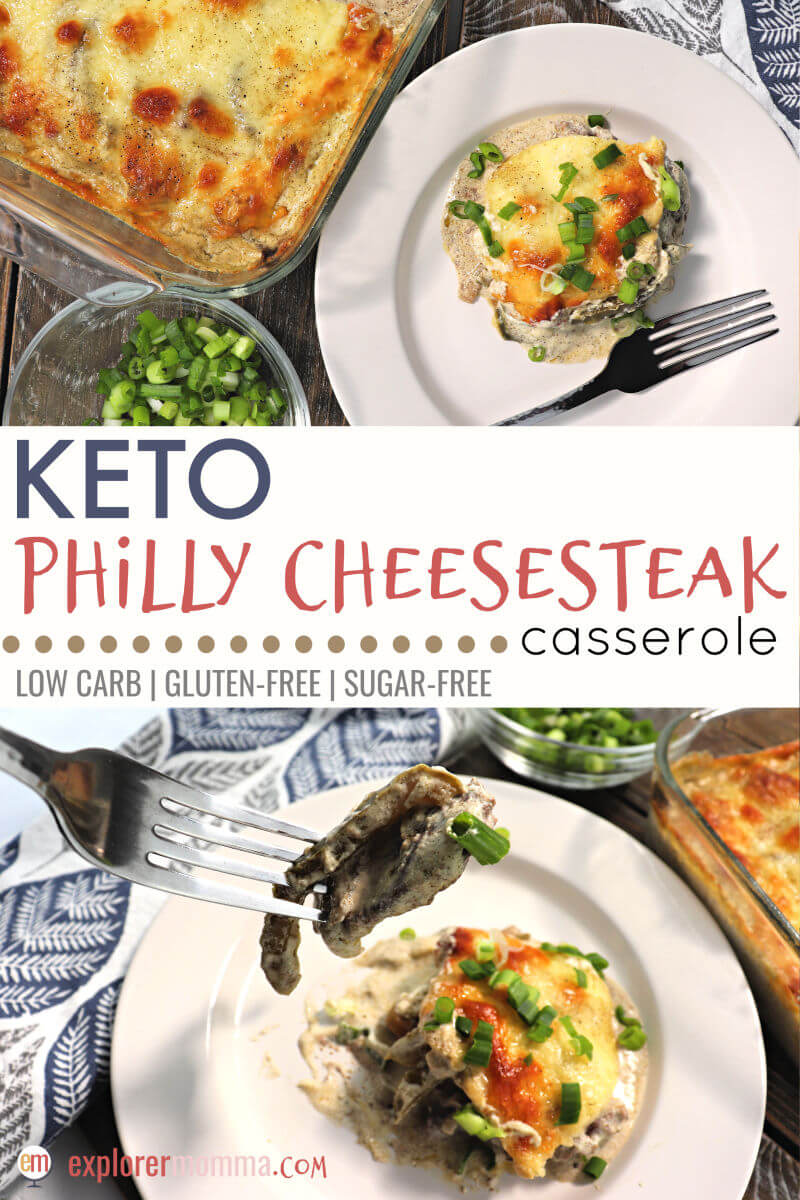 Flavorful Keto Philly Cheesesteak Casserole is the perfect weeknight low carb recipe the family will request over and over again. Creamy with beef, green peppers, onions and spices, ideal for a gluten-free diet. #ketodinner #lowcarbmeals