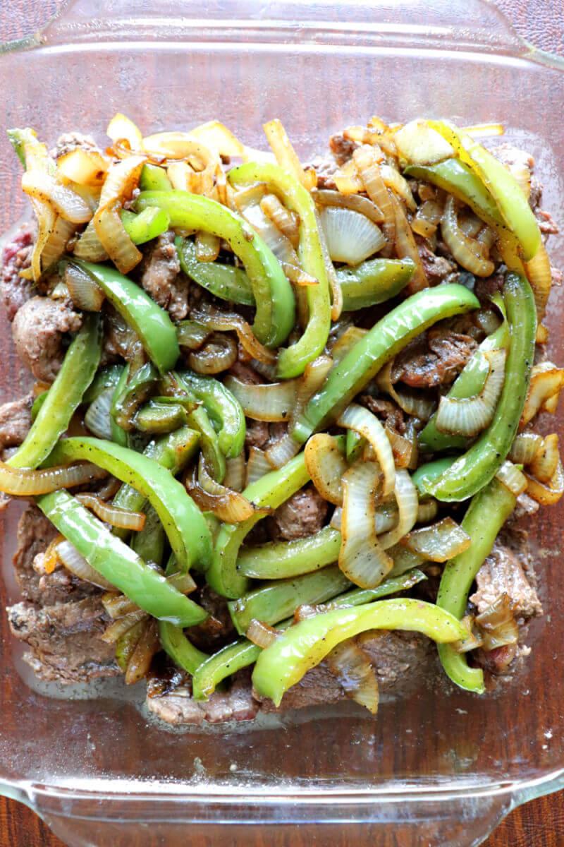Meat, veggies, layered, Keto Philly Cheesesteak Casserole