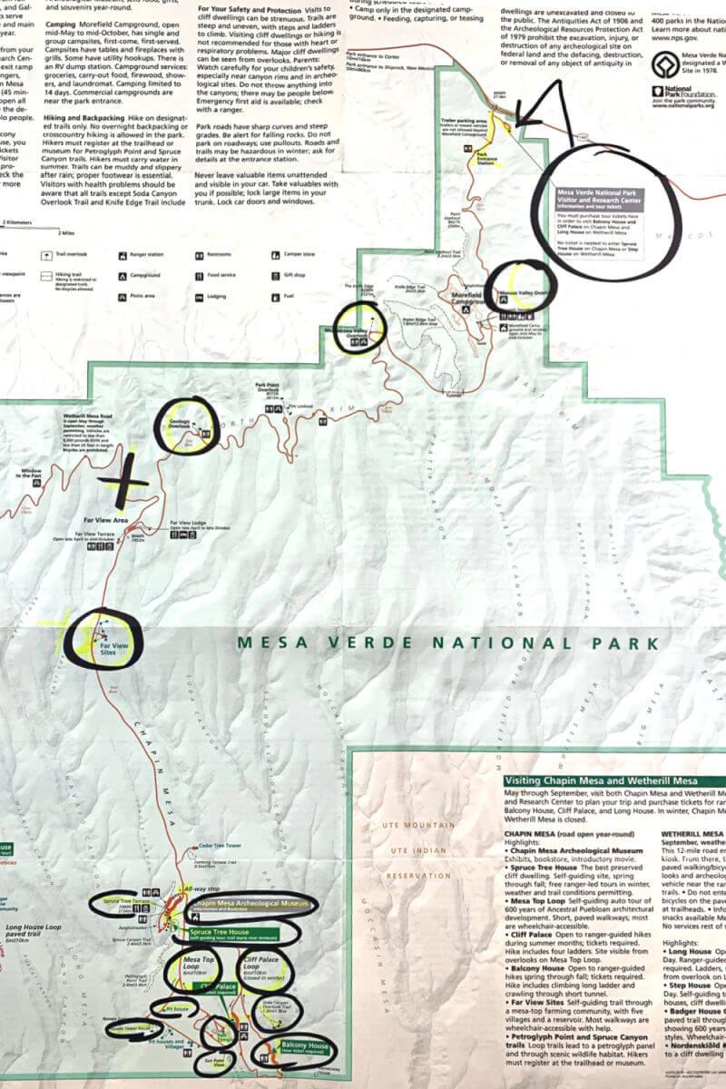 1 day Mesa Verde Map Itinerary, National Parks map #mesaverde #familytravel