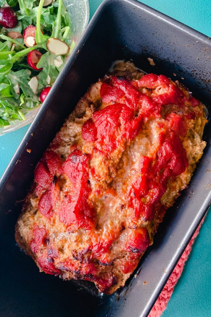 Keto turkey meatloaf in Ninja loaf pan