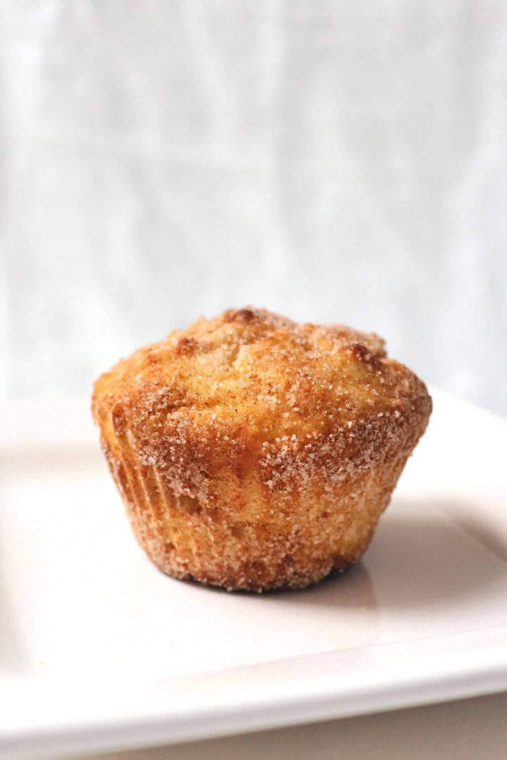 Keto snickerdoodle muffin on a white plate