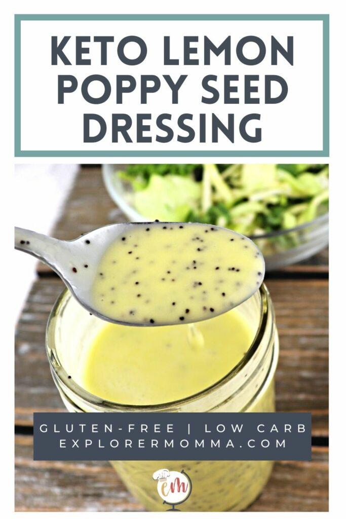 Jar of keto lemon poppy seed dressing