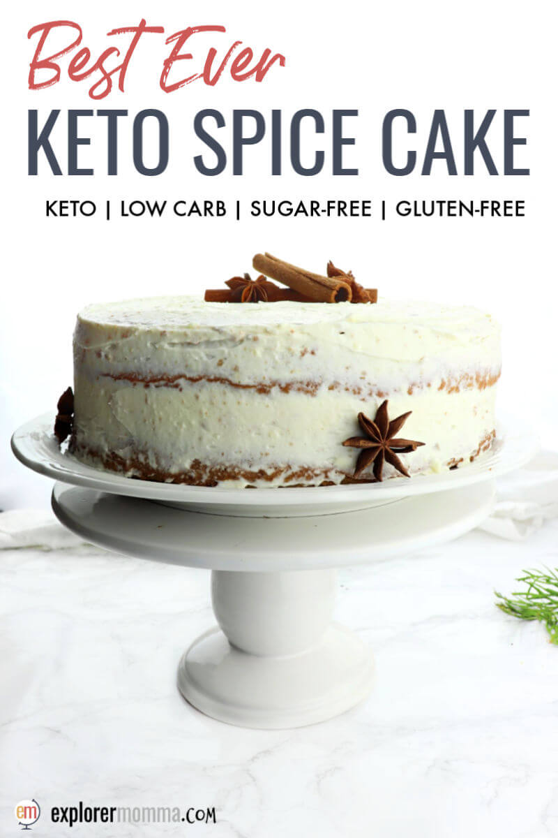Layered keto spice cake is fabulous as a keto birthday cake or special occasion cake. Gluten-free, sugar-free, and delicious, it won't even seem like you're on a keto diet. #ketocake #ketodessert #ketocakerecipes