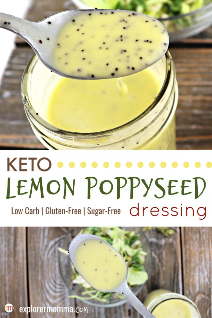 Fresh ingredients in keto salad dressing with this delicious low carb lemon poppyseed recipe. Sugar-free dressing that's tart, tangy, and sweet, for your favorite keto salad. #ketodressing #lowcarbdressing #sugarfreedressing