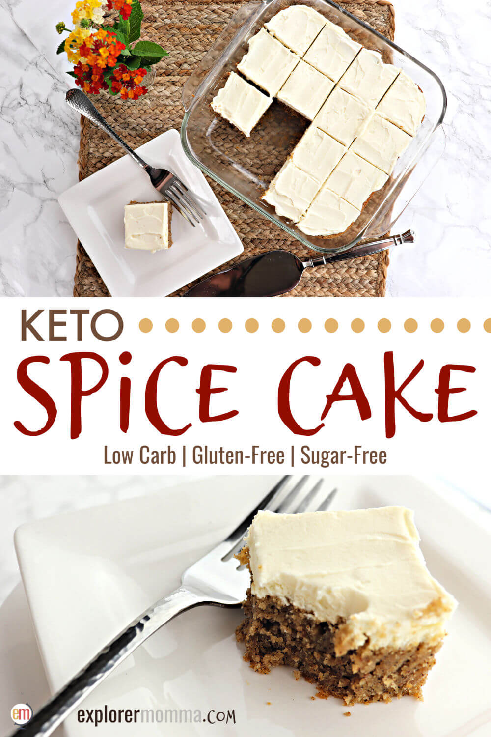 Low carb keto spice cake is deliciously moist and packed with spices. Sugar-free cream cheese frosting is the perfect touch on this popular moist gluten-free cake ideal for a keto diet. #ketocake #ketodesserts #ketorecipes #lowcarbcake