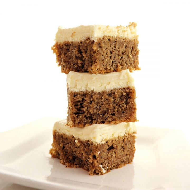 Delicious low carb keto spice cake is full of fall spices and super moist. Topped with a dreamy sugar-free cream cheese frosting, it's completely gluten-free. #ketocake #lowcarbcake #ketodessertrecipes