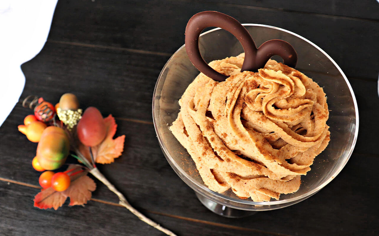 Easy whipped keto pumpkin mousse is delightfully low carb and delicious. The perfect fall sugar-free dessert recipe for a keto diet. #ketodietrecipes #ketopumpkin #lowcarbdessert