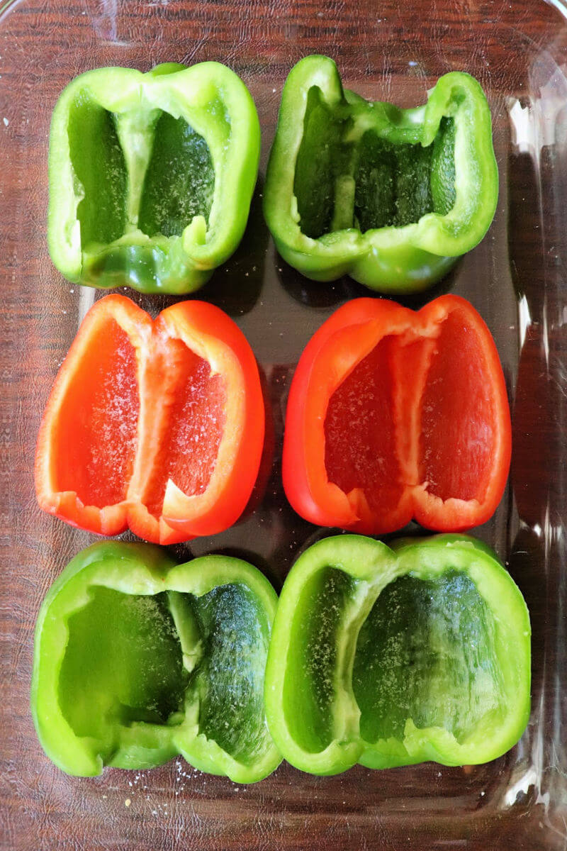 Prepped bell pepper halves with seeds and membrane removed