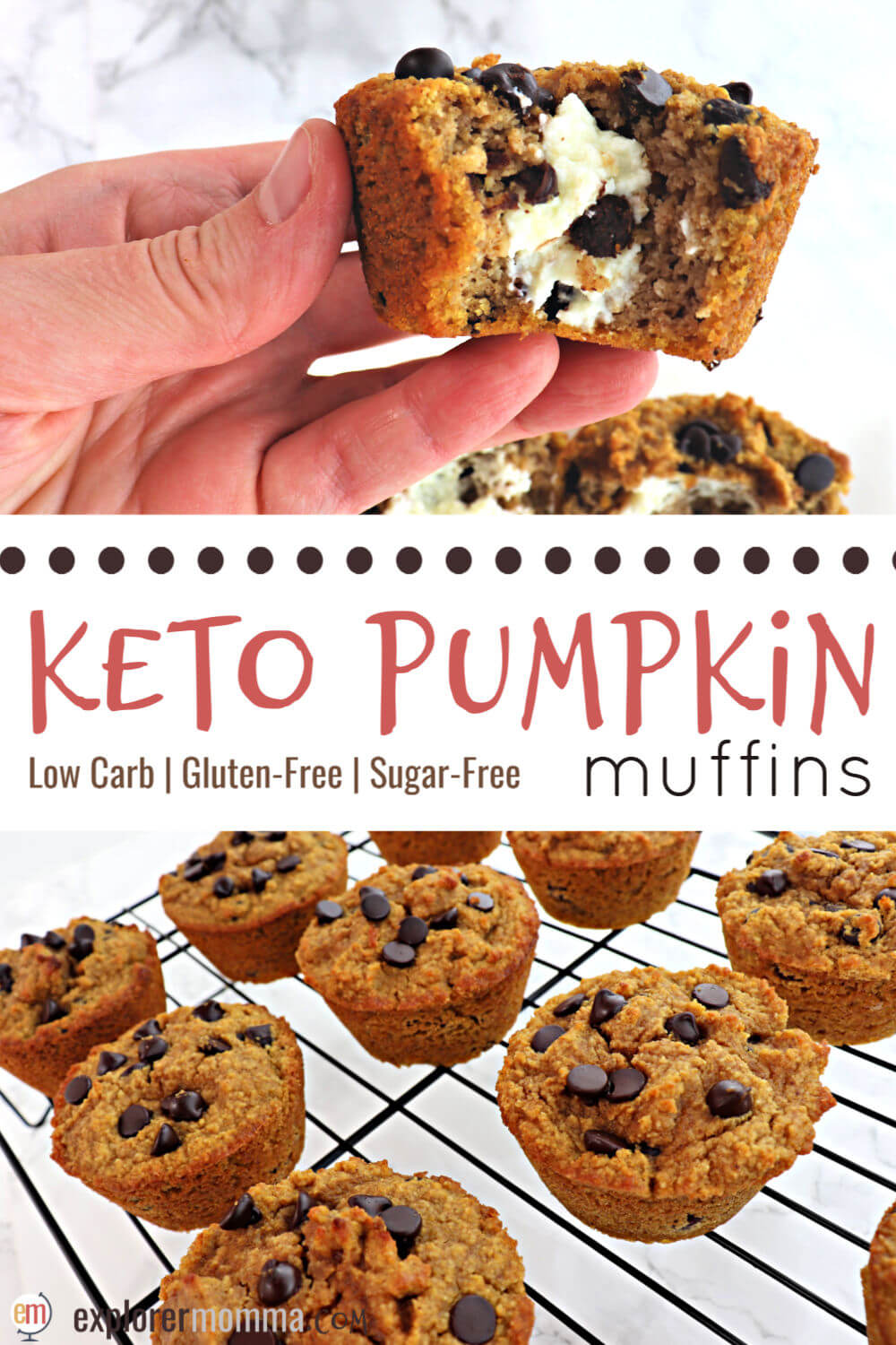 Cream cheese keto pumpkin muffins are easy and low carb delicious. Packed with pumpkin spice, sugar-free chocolate chips, and cream cheese, your taste buds, and your keto diet, will thank you. #ketodiet #ketorecipes #ketobreakfast
