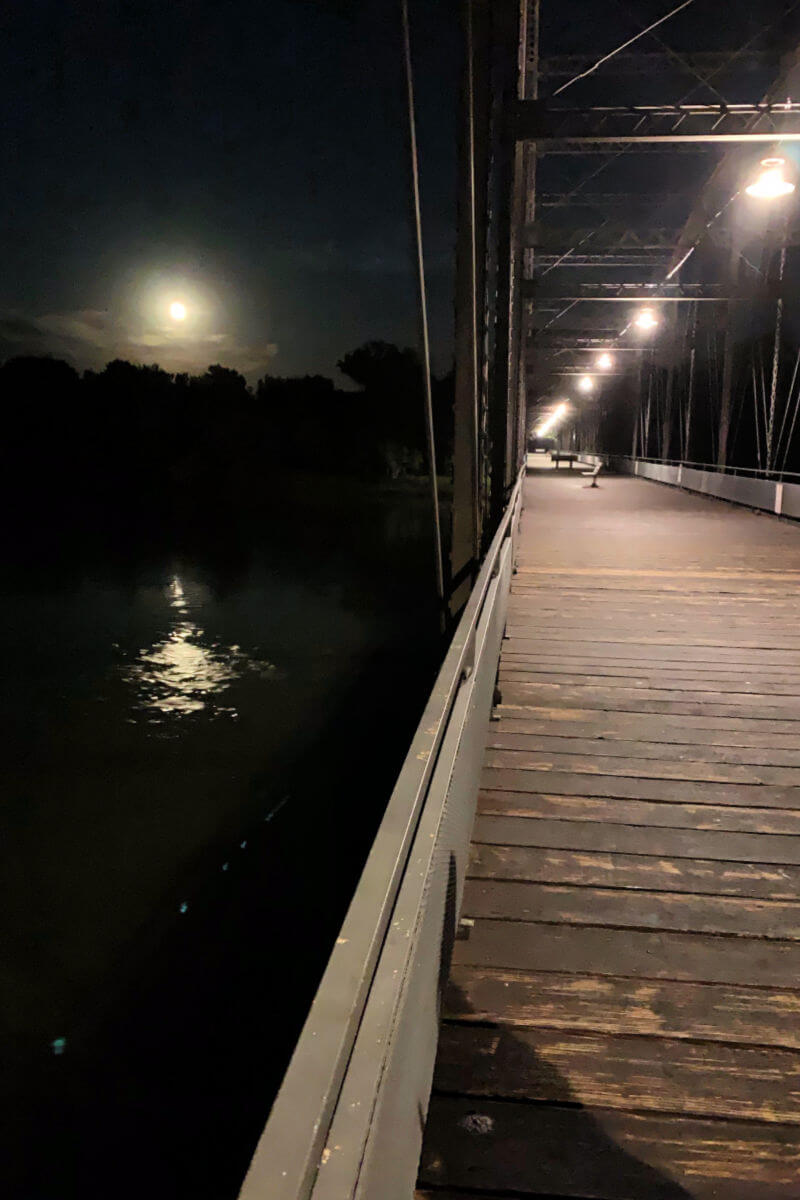 Old Fort Benton Bridge by night, Montana