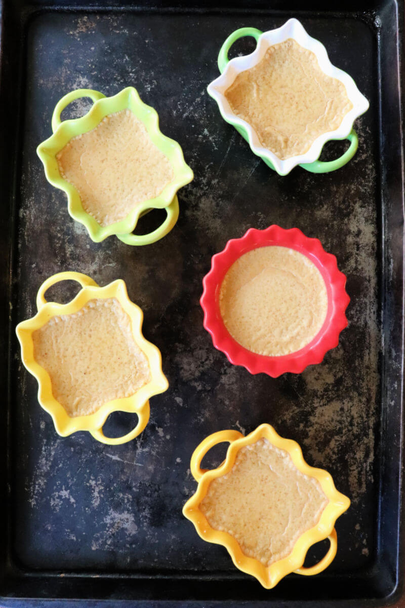 Pumpkin keto creme brulee custard just before topping. #ketodessert #ketocustard #lowcarbrecipes