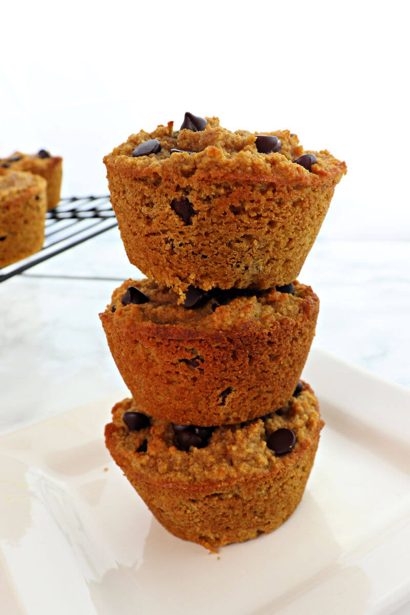 Fall pumpkin spiced low carb muffins are the perfect keto breakfast. Sugar-free chocolate chips, cream cheese, delish! #ketorecipes #ketobreakfast