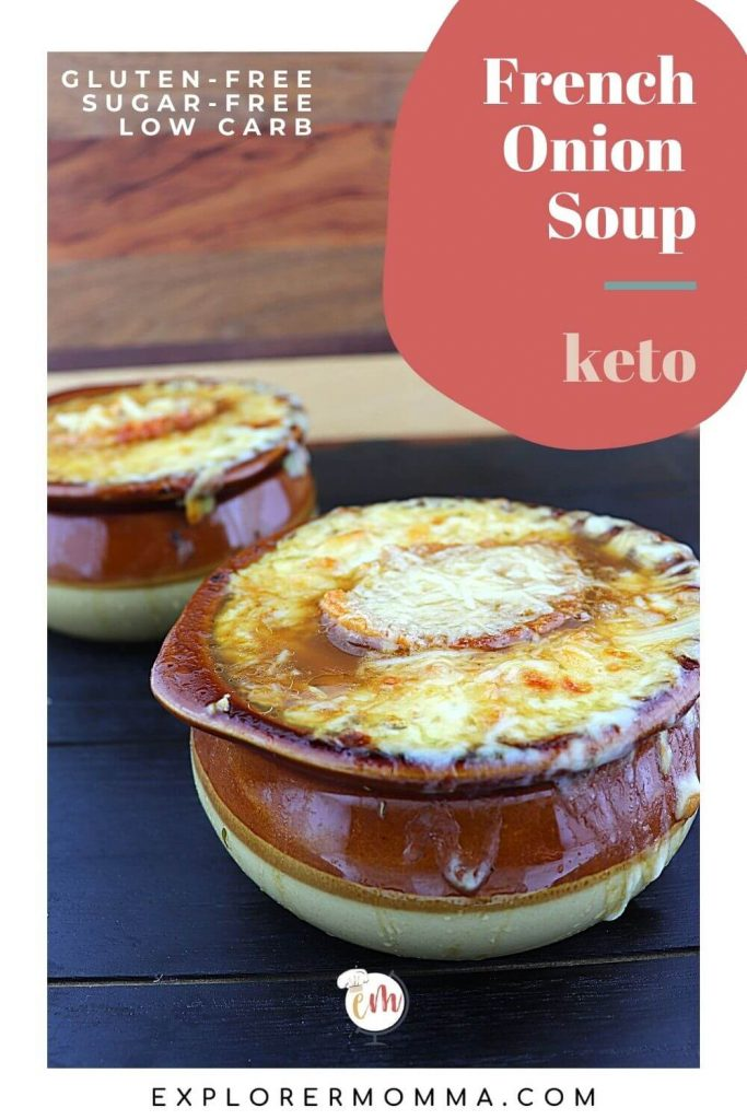 Keto French onion soup in bowls
