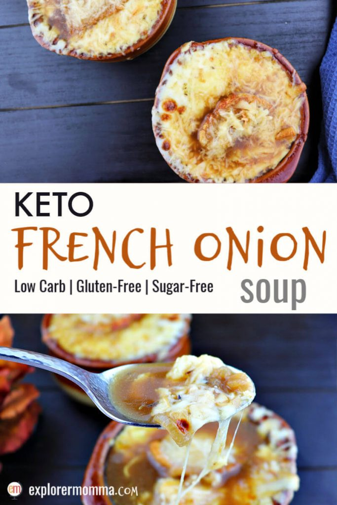 Delicious keto French onion soup is high protein and packed with flavor. This low carb comfort food will have you dreaming of Paris. Friendly for a keto diet and topped with gluten-free garlic crostini and gruyere cheese. Yum. #ketosoups #ketodietrecipes #lowcarbdinner
