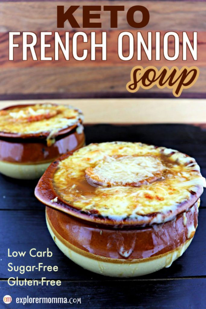 Keto French Onion Soup is a traditional delicious comfort food gone low carb. Topped with a gluten-free crostini and gruyere cheese, close your eyes and you're in a French cafe. #ketosoup #ketorecipes #ketofrenchonionsoup