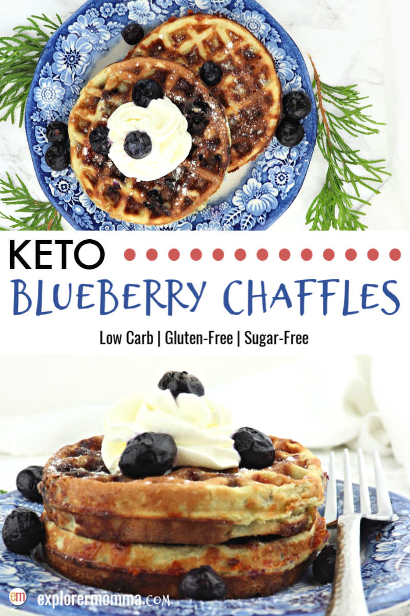 Blueberry chaffles are the best holiday morning keto treat! Sugar-free and gluten-free, these low carb beauties are topped with whipped cream and blueberries!