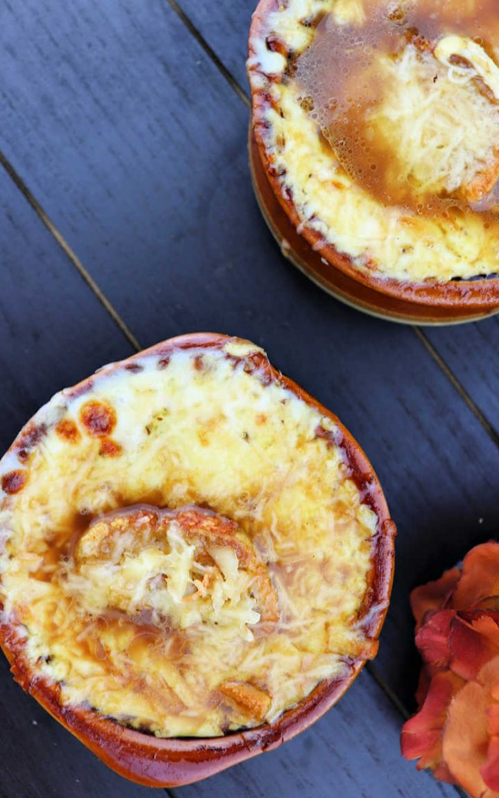 Two bowls of keto French onion soup overhead
