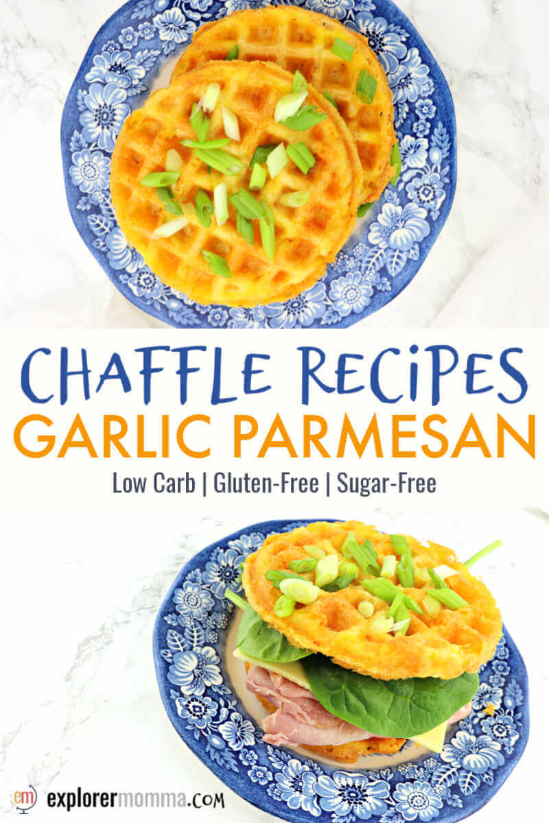 No-carb chaffle recipes are perfect for keto sandwiches or a low carb bread alternative. Gluten-free garlic parmesan chaffles are easy and adaptable for snacks, lunch, or dinner. #chaffles #ketobread #chafflerecipes