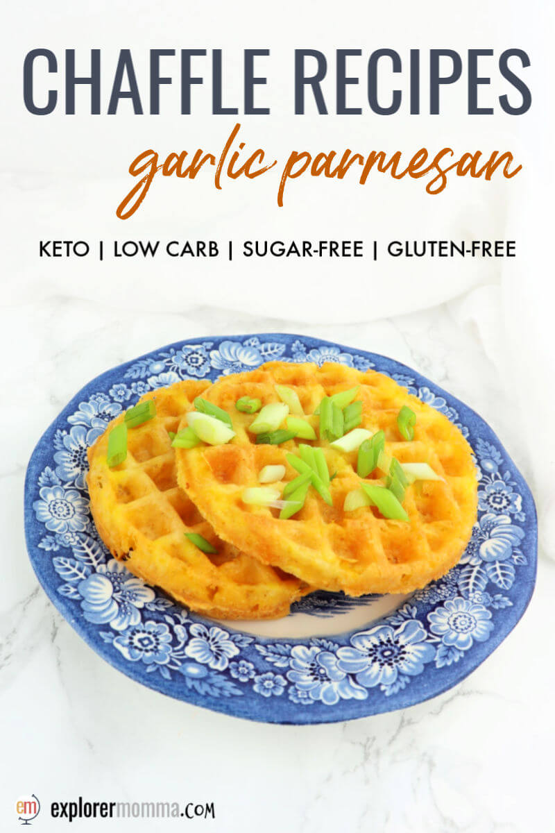 Chaffle recipes for a no-carb keto bread replacement. These gluten-free garlic parmesan chaffles are delicious and easy as a side or for the low carb bread of a sandwich. #chafflerecipes #nocarbbread #chaffles