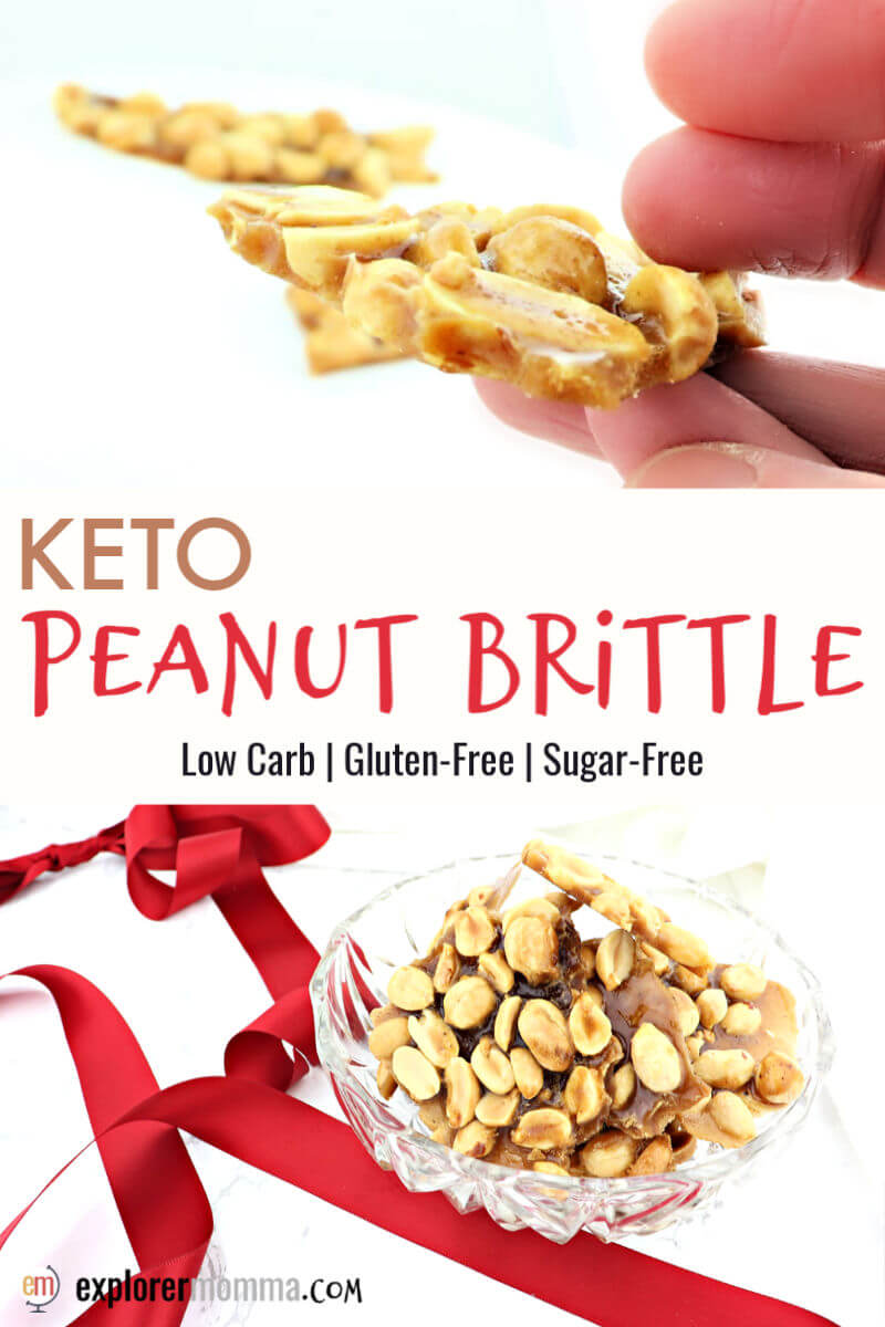 Keto peanut brittle is the ultimate sugar-free holiday treat. Make a healthier choice and stay on plan for a keto diet with the salty sweetness of this low carb candy. #ketocandy #ketodessert #ketoholidays