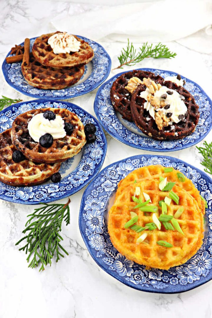 Four kinds of keto chaffles on plates