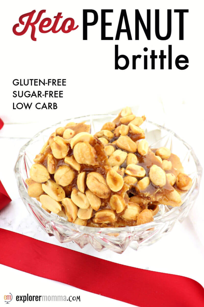 Delicious keto peanut brittle is salty and sweet and a healthier choice during the holidays on a keto diet. Sugar-free and gluten-free, it's a fabulous low carb snack. #ketochristmas #ketorecipes #ketodessertrecipes