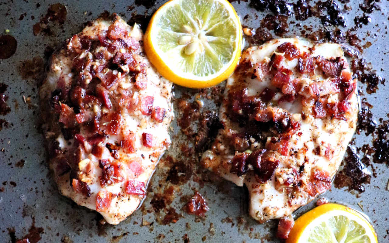 Bacon smothered keto tilapia for a low carb family weeknight dinner. #ketodinners #ketorecipes