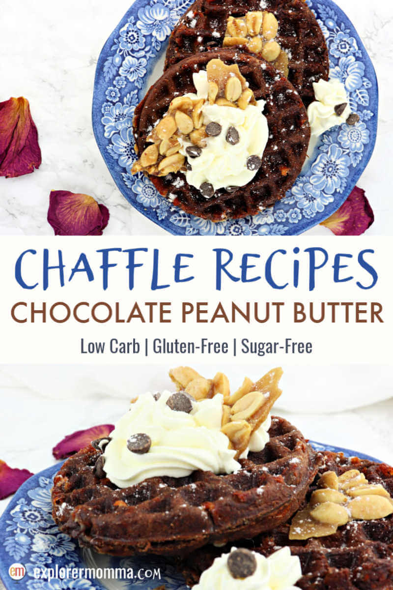 Chaffle recipes you'll love! Chocolate peanut butter chaffles for a keto diet make your taste buds sing. Sugar-free, gluten-free, and delicious with many options for tasty toppings. #ketowaffles #chaffles #chafflerecipes