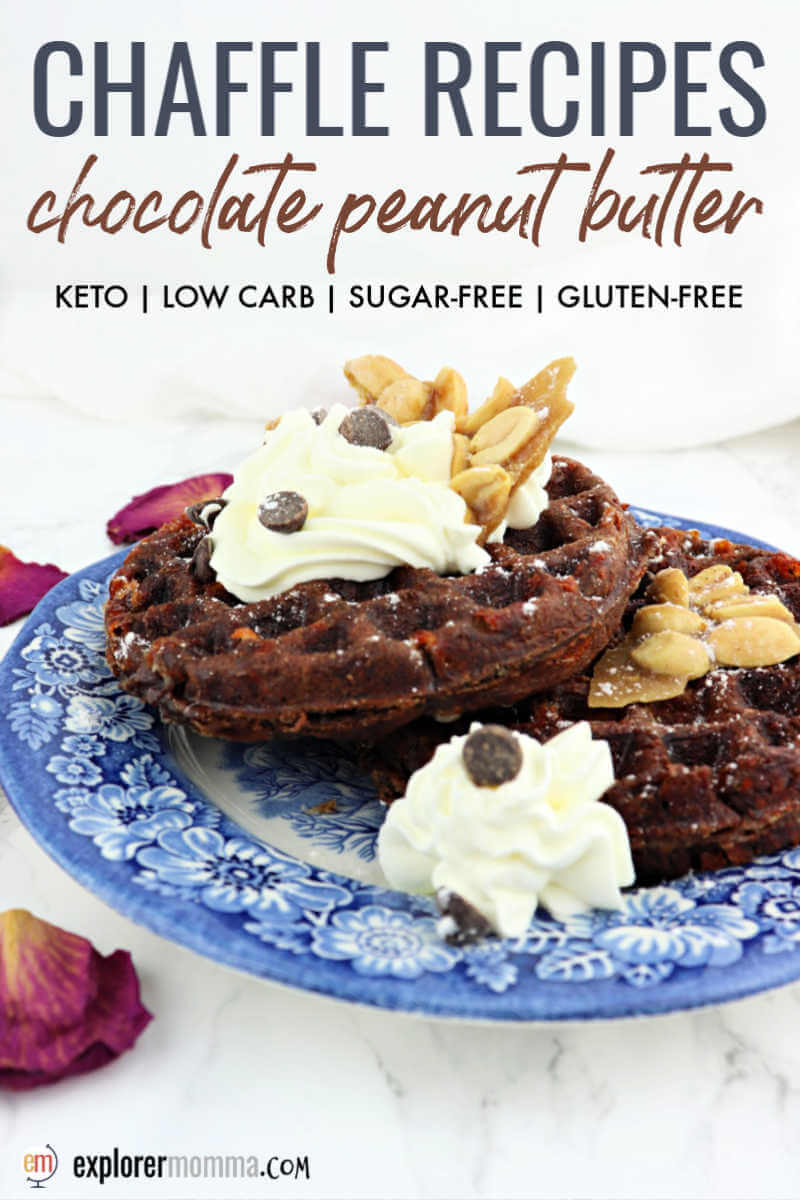 Low carb chaffle recipes are perfect for a keto diet! Delicious chocolate peanut butter chaffles for a weekend gluten-free breakfast topped with whipped cream, sugar-free chocolate chips, and peanuts or even peanut brittle! #ketowaffles #chafflerecipes #chaffles