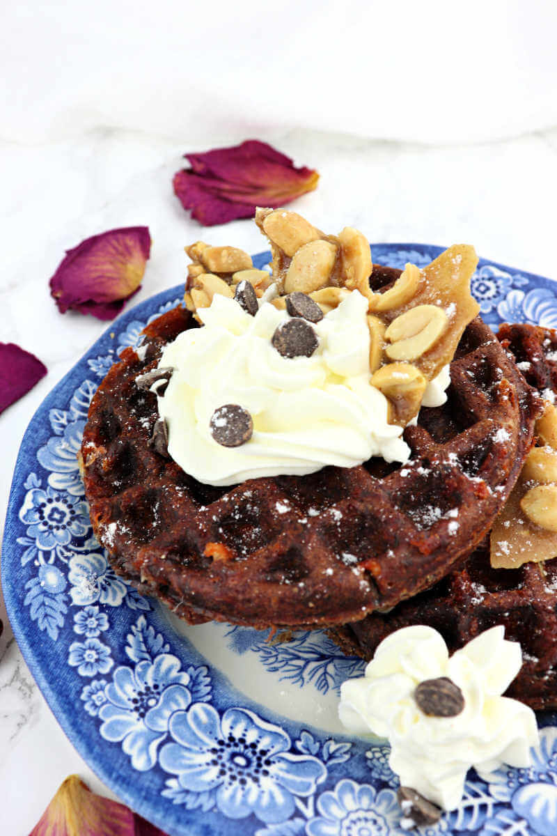 Chaffle recipes for a keto diet should include chocolate peanut butter chaffles? The ultimate keto waffle for a weekend low carb, gluten-free breakfast. #chaffle #chafflerecipes #lowcarbwaffle