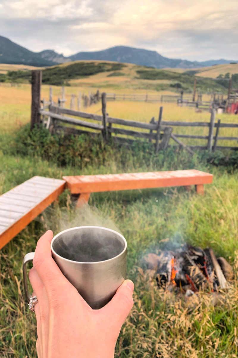 Goshawk Ecotours morning campfire #greatfallsmt #goshawkecotours