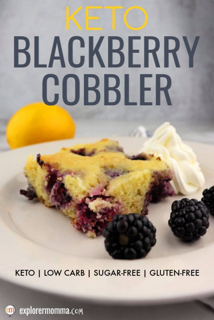 Easy and delicious keto blackberry cobbler is the perfect low carb fresh dessert. Serve with whipped cream or your favorite keto ice cream! #ketoblackberrycobbler #ketocake #ketorecipes