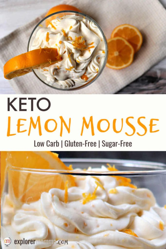 Fresh and delicious keto lemon mousse is the perfect dessert or fat bomb for spring. A delicious gluten-free almond flour crust/topping adds a salty and crunchy contrast to the creamy mascarpone mousse. #ketodesserts #ketorecipes
