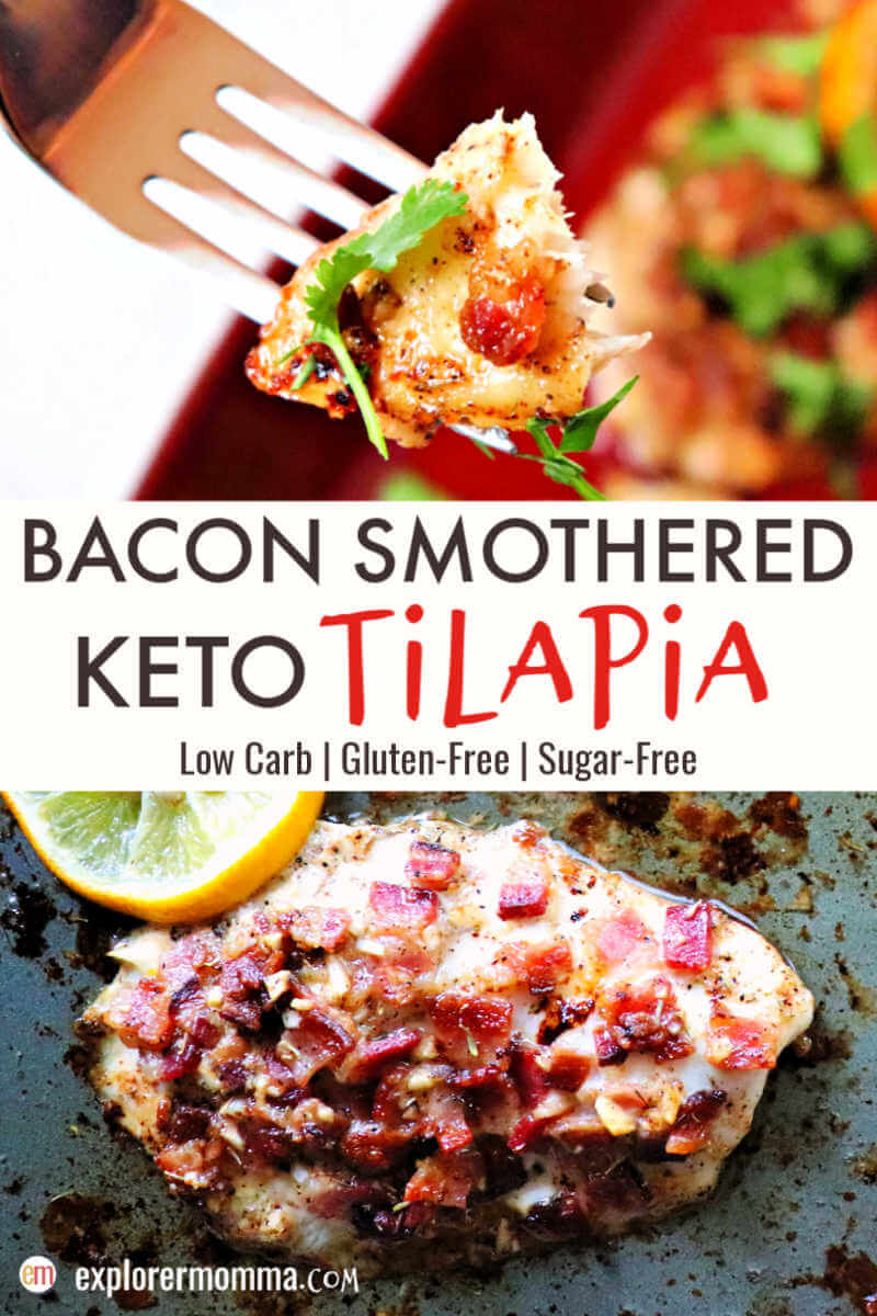 Bacon smothered keto tilapia with a lemon garlic butter sauce is a gluten-free flavorful treat! An easy dinner for one or the family. #ketorecipes #ketodinners #lowcarbrecipes
