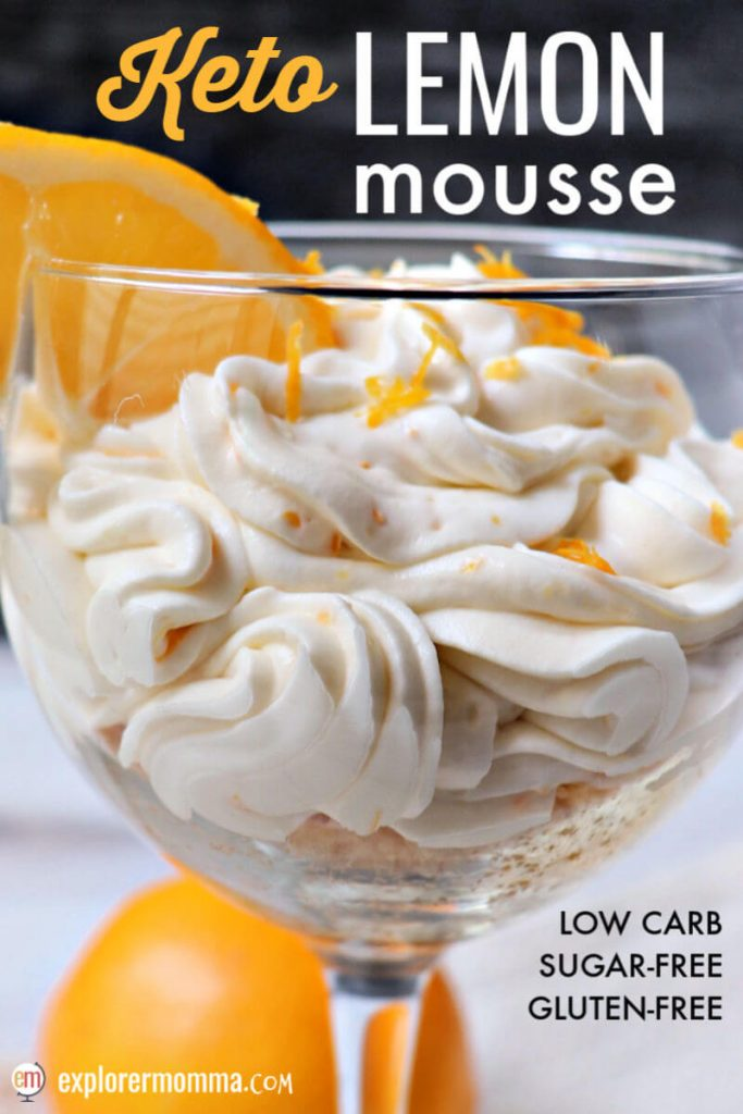 Creamy keto lemon mousse is a delicious and tangy low carb dessert paired with a crunch of a gluten-free almond flour crust/topping. Mascarpone cheese, cream, lemon zest, yum! #ketodessert #ketolemonmousse