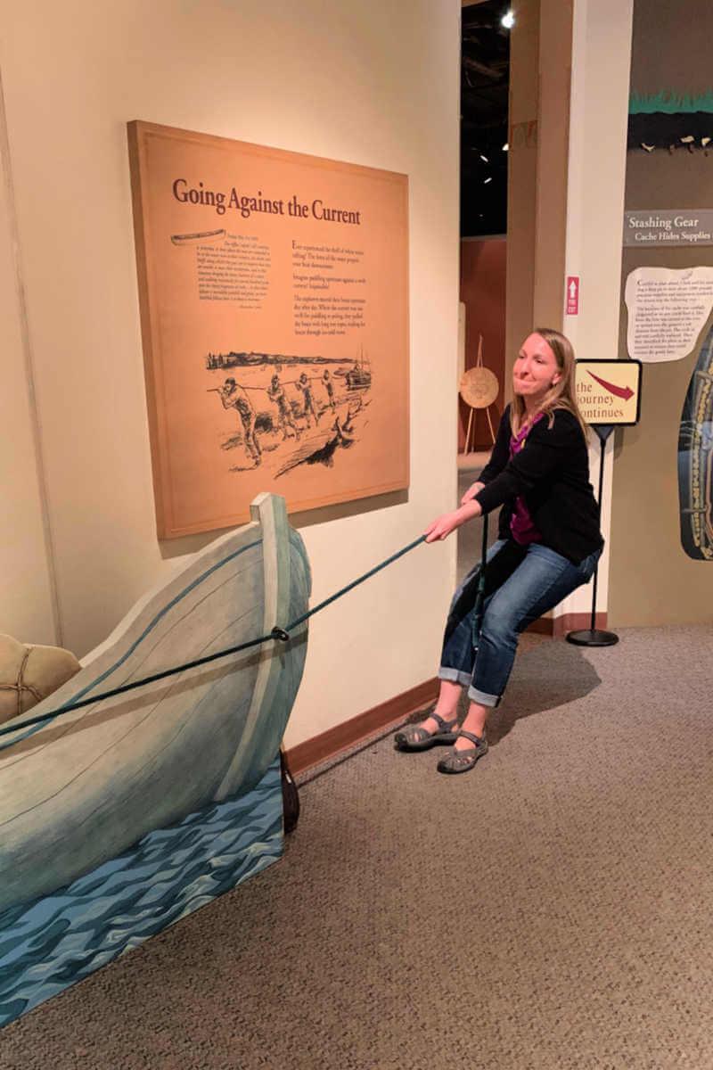 Lauren pulls the boat upstream. Lewis & Clark Interpretive Center #lewisandclark #greatfallsmt