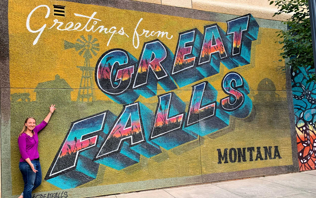 Lauren with the Great Falls mural feature #greatfallsmt