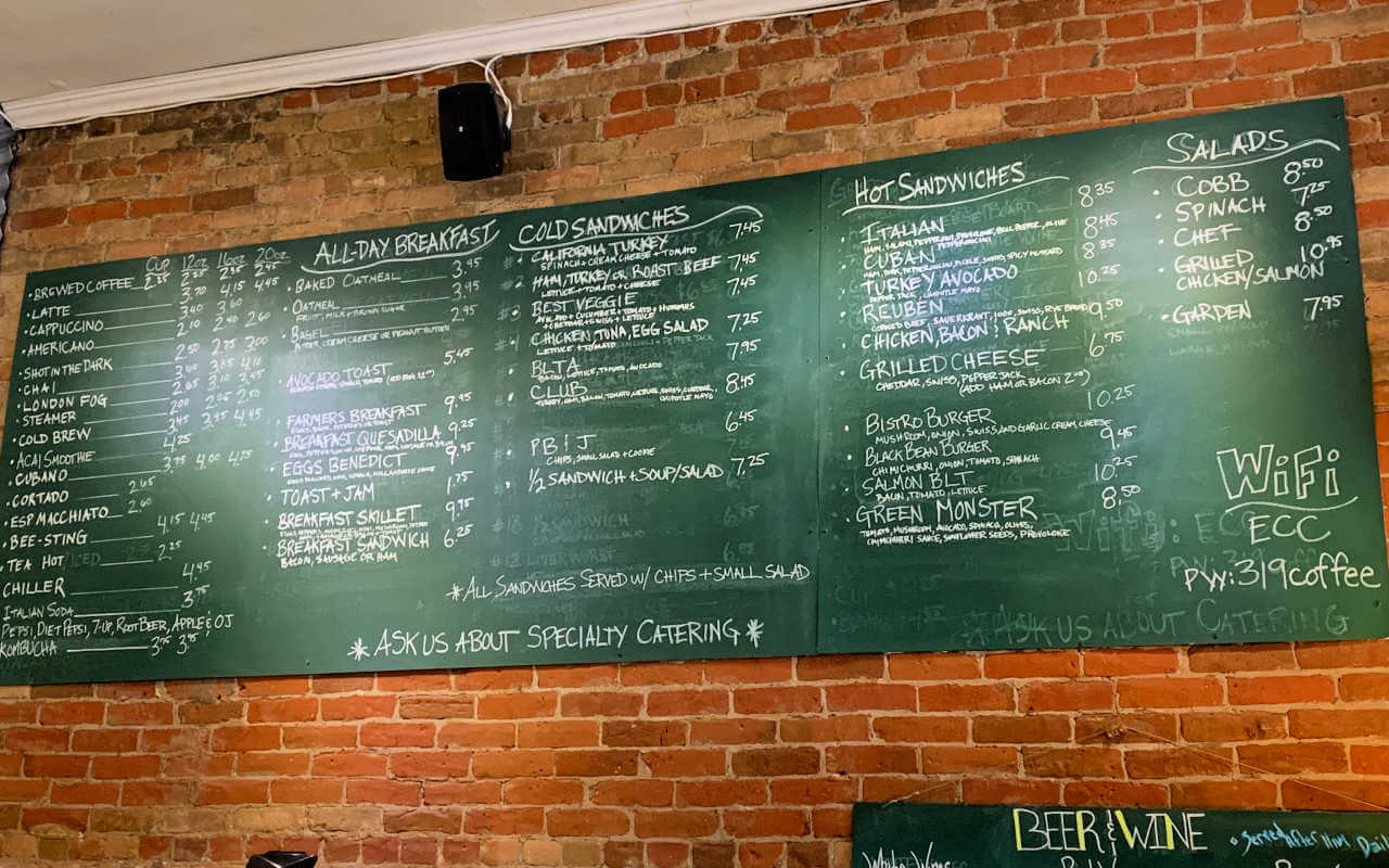 Menu at the Electric City Bistro, things to do in Great Falls MT