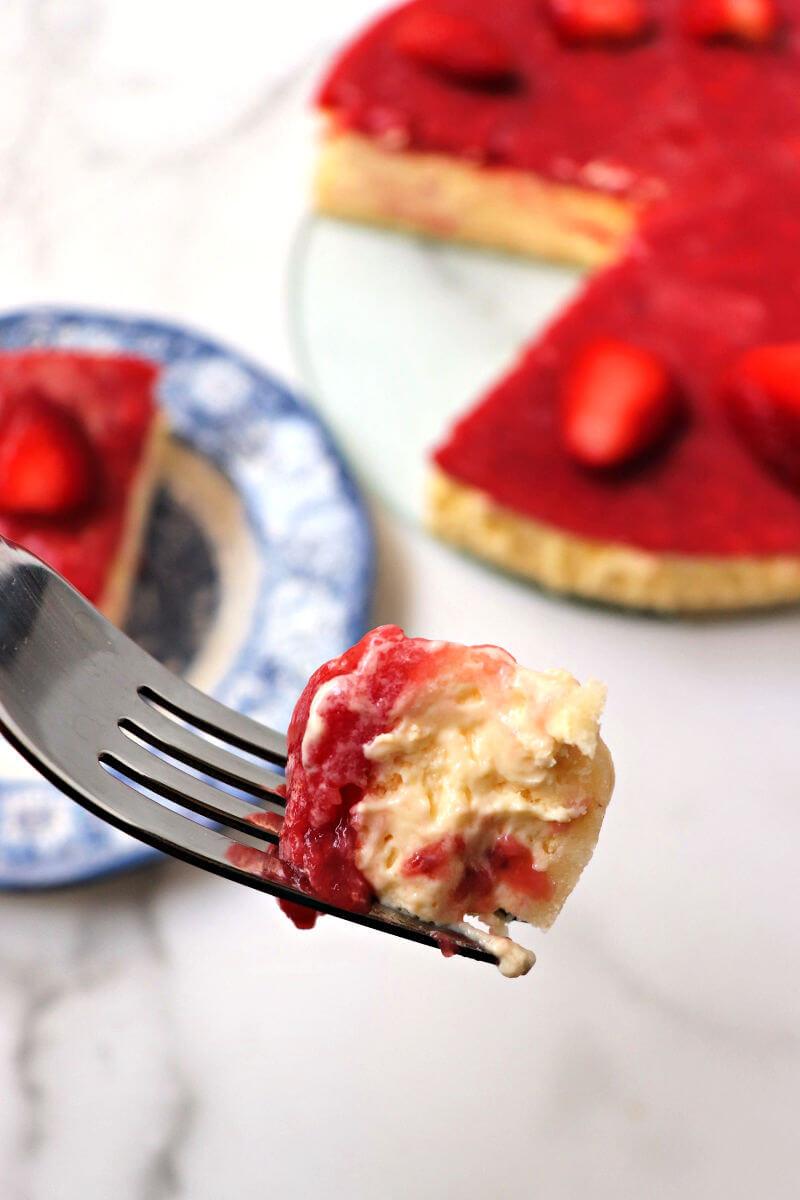 Bite of keto strawberry cheesecake #ketocheesecake #ketodessert