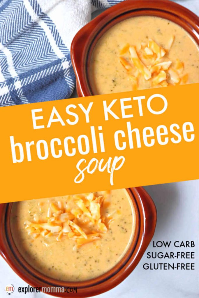 Easy keto broccoli cheese soup is packed with cheddar flavor and is the perfect low carb warm comfort food. Thickened with egg and cauliflower, it's high protein and only 2 net carbs. #ketosouprecipes #ketorecipes #ketosoups