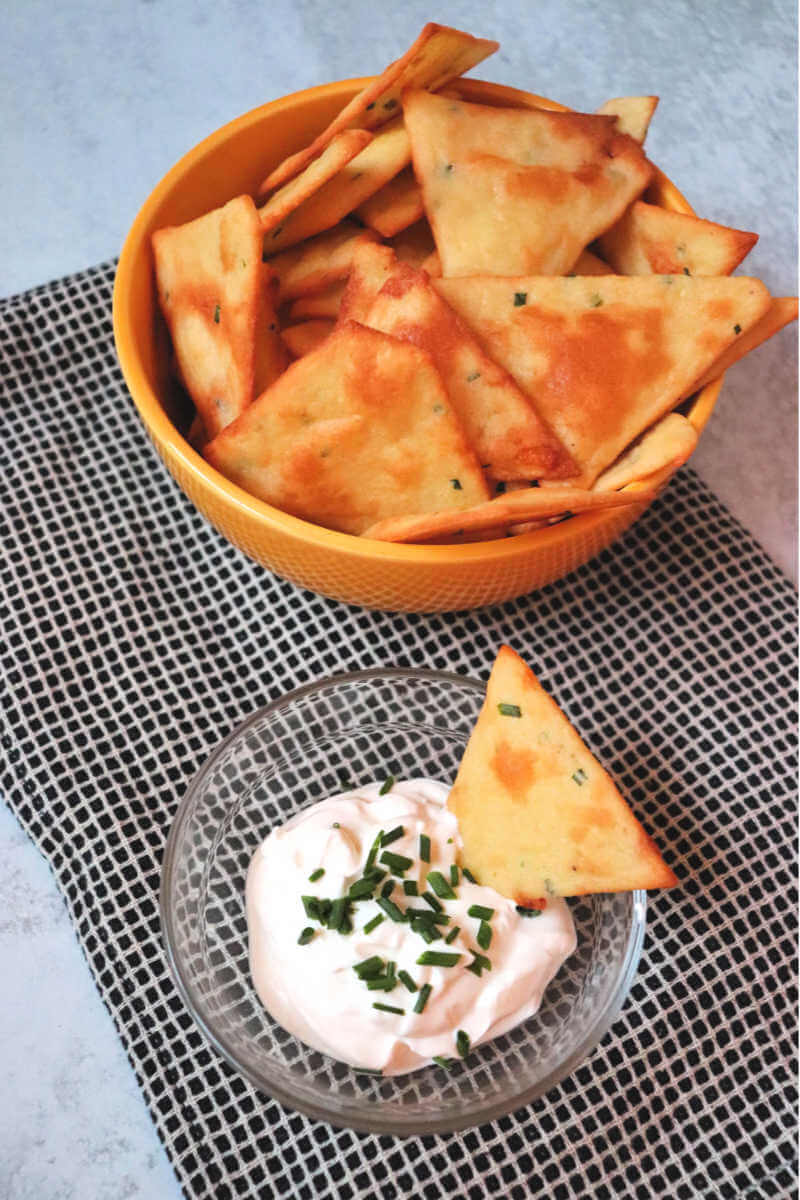Baked sour cream and onion low carb chips. Keto snacks ready for the big game or birthday party. #ketosnacks #ketochips #ketorecipes