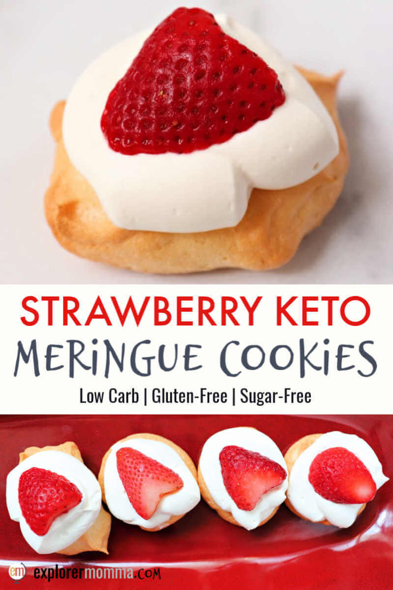Strawberry keto meringue cookies are a brilliantly light sugar-free meringue topped with whipped cream and a strawberry. Simple and delightful low carb dessert. #ketodesserts #ketorecipes #ketocookies