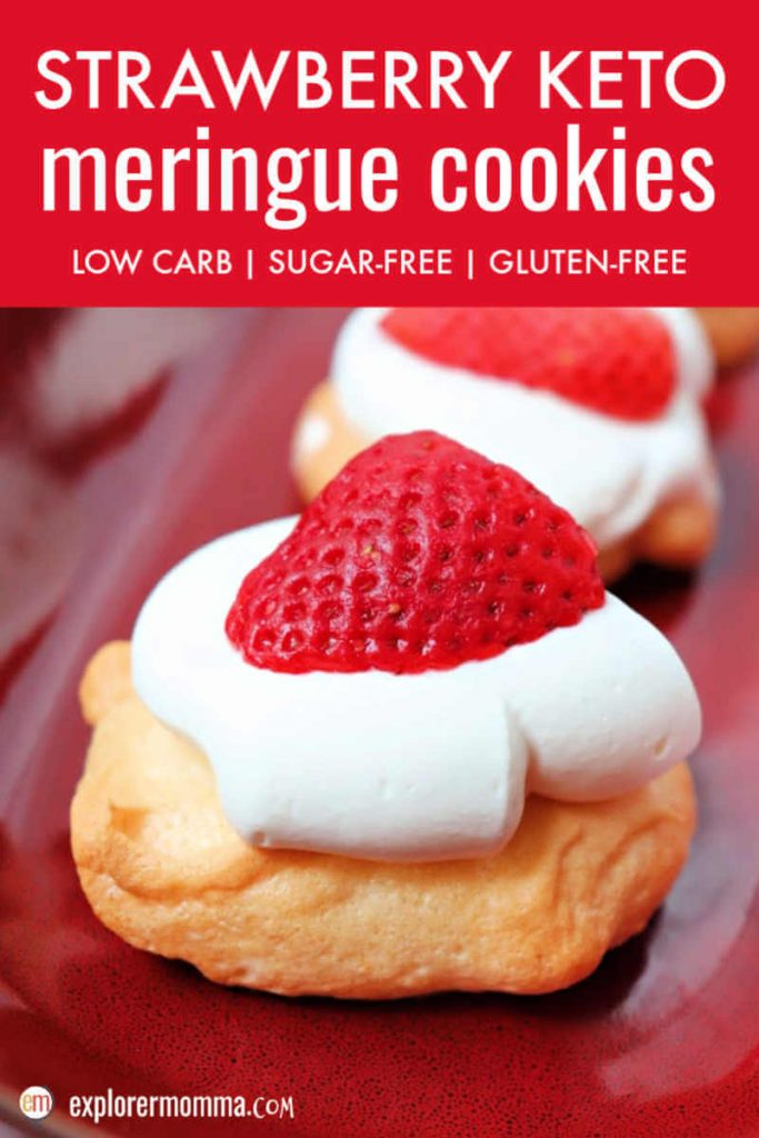 Simple and delightful strawberry keto meringue cookies are low carb creamy melt in your mouth bites of summer. A mini keto pavlova with a little meringue, a little cream, and a sweet strawberry. #ketocookies #ketomeringue #ketorecipes