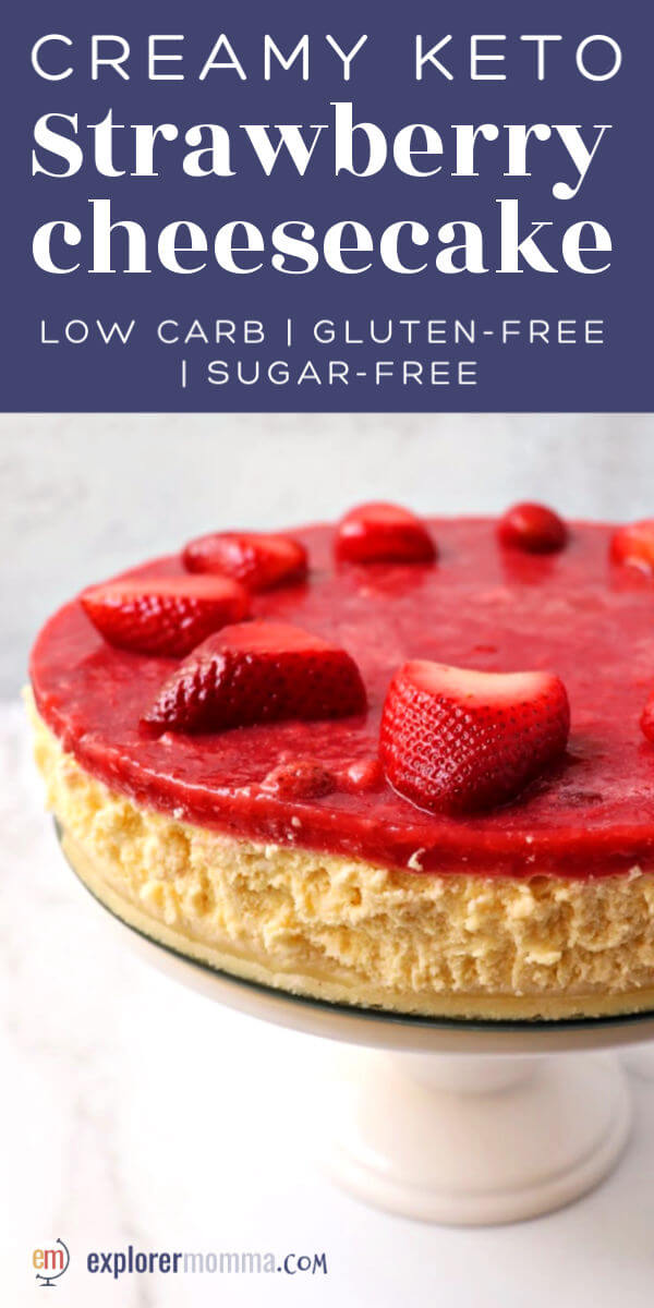 Smooth and silky creamy keto strawberry cheesecake is a low carb dessert dream. It's an almond flour crust topped with a soft creamy keto middle, and then a sugar-free strawberry topping. Delish! #ketorecipes #ketodesserts #ketocheesecake