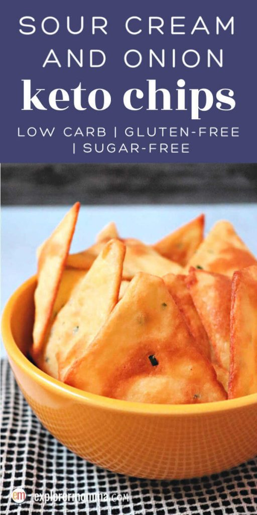 Sour cream and onion keto chips are savory flavorful low carb snacks. Just what you want for a gluten-free treat for the big game or party with keto dip. #ketochips #ketosnacks #ketorecipes