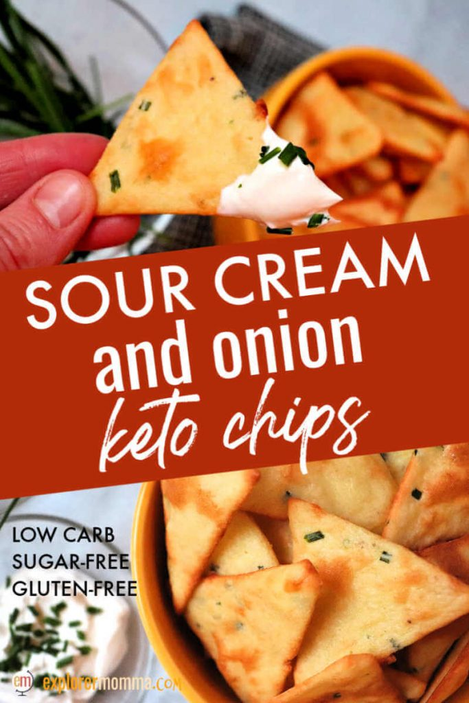 Real food sour cream and onion keto chips are gluten-free, low carb, and delicious. Great for a keto appetizer with dip or as a low carb side with soup! #ketochips #ketorecipes #lowcarbrecipes