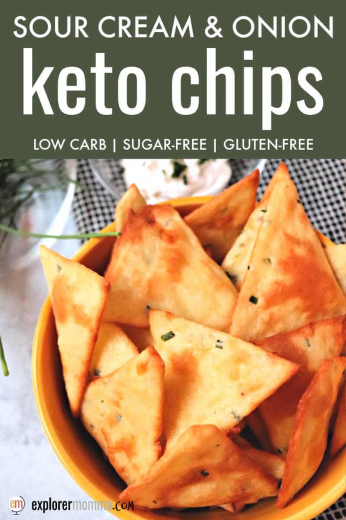 Sour cream and onion keto chips are delicious and the perfect low carb appetizer or side. Gluten-free and packed with flavor alone or with a keto dip. #ketochips #ketorecipes #ketosides