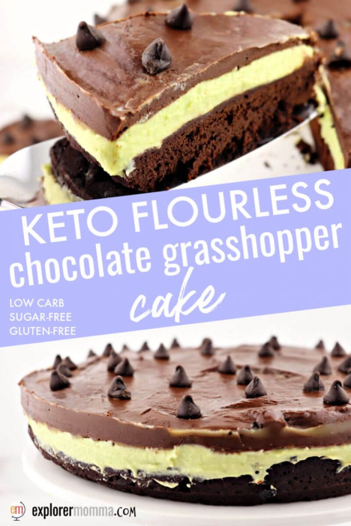 Keto flourless chocolate grasshopper cake is delicious chocolate mint colored with healthy avocado! Gluten-free, sugar-free dessert. #ketodessert #ketomintchocolate #ketorecipes