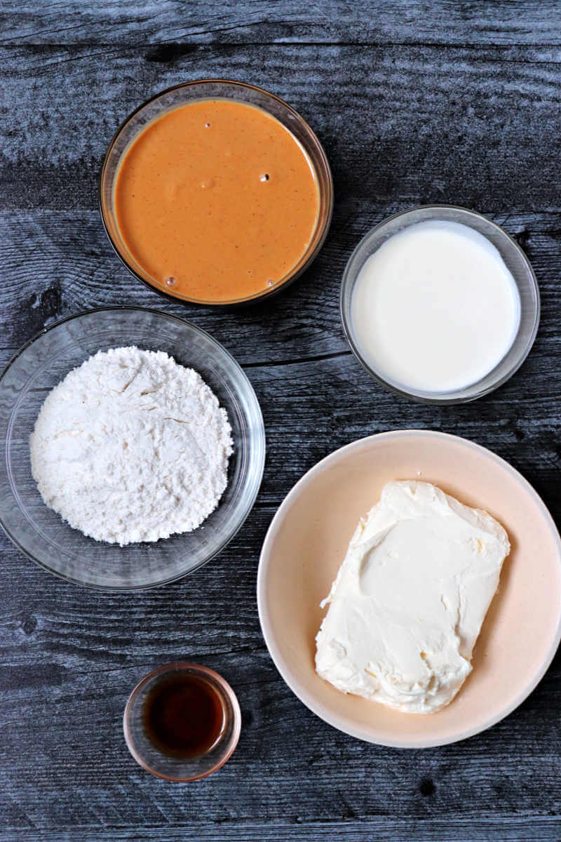 Creamy keto peanut butter frosting ingredients. #ketofrosting #ketorecipes #ketodesserts