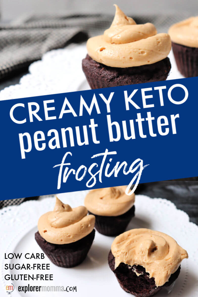 Creamy keto peanut butter frosting is rich and creamy yet quick and easy to make. Whip it together for a low carb icing on a gluten-free cake or cupcakes. Chocolate peanut butter is always a good choice! #ketodietrecipes #ketodesserts #ketobirthday